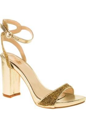 Stella 18146 Yüksek Topuk Altın Kadın Ayakkabı