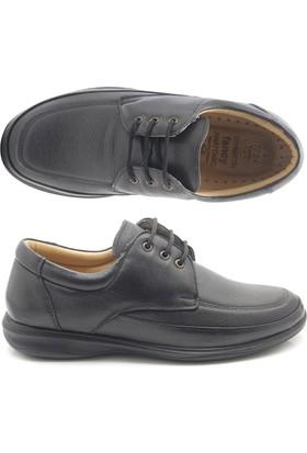Fancy 725 Siyah Bağcıklı Tam Ortopedik Diyabetik Ayakkabı