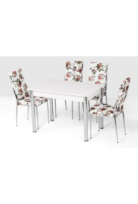 Azzore Az101 Turuncu Çiçek Sandalyeli Masa Takımı