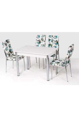 Azzore Az101 Yeşil Çiçek Sandalyeli Masa Takımı