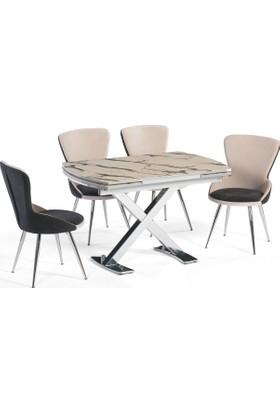 Azzore En932 Beyaz Mermer Mutfak Masası Takımı