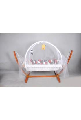 Yıldız Bebe Organik Bebek Hamak Oyuncaklı Tüllü 0 - 5 Yaş Ahşap