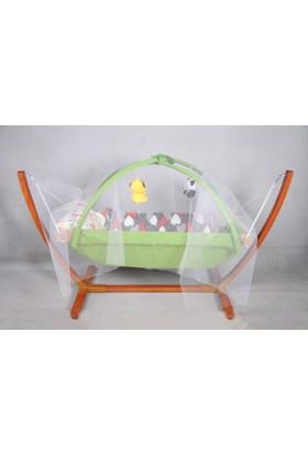 Yıldız Bebe Oyuncaklı Tüllü Bebek Beşik Hamak 0 - 5 Yaş Ahşap