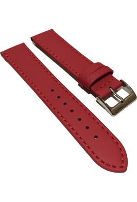 Morello Soft Mat İnce Dikişli Hakiki Deri Saat Kayışı 20X18Mm Kırmızı