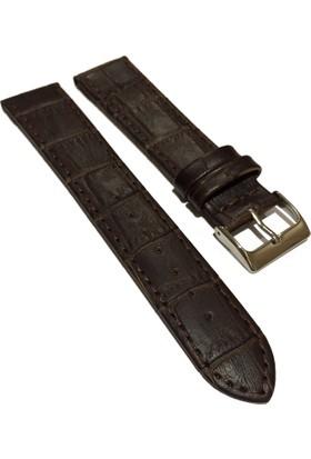 Morello Croco Baskılı İnce Dikişli Hakiki Deri Saat Kayışı 18X16Mm Kahverengi