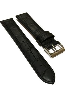 Morello Croco Baskılı İnce Dikişli Hakiki Deri Saat Kayışı 20X18Mm Siyah