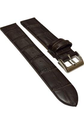 Morello Croco Baskılı İnce Hakiki Deri Saat Kayışı 20X18Mm Kahverengi