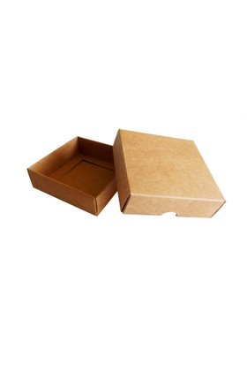 Kolievi Kraft Karton Kapaklı Kutu - 8×8×2,5 cm - 50'li Paket