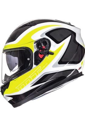 Mt Helmets Blade Morph Parlak Beyaz Sarı Gri Kapalı Motosiklet Kask