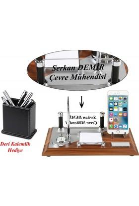 Florya Ahşap Ofis Masa Üstü İsimlik Saat Telefon Standı Seti