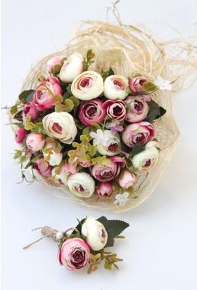 5edac560024bf Yapay Çiçek Deposu Gelin Buketi Zeugma 2li Set (Gelin Buketi, Yaka Çiçeği)  ...