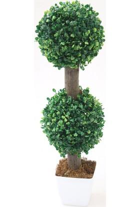 Yapay Çiçek Deposu Yapay Ağaç Dekoratif 2 Katlı Küçük Top Şimşir 53 cm