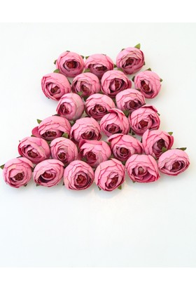 Yapay Çiçek Deposu 25li Paket Yapay Küçük Kafa Şakayık Pembe