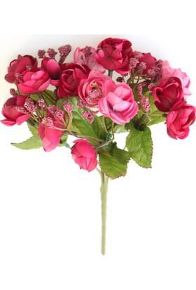 Yapay Çiçek Deposu Yapay Çiçek Minik Cipsolu Şakayık Gül Demeti Fuşya