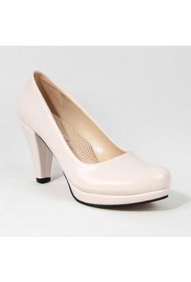 Yeystore Ayakkabı Desniy 40 Rugan Topuklu Bayan Krem