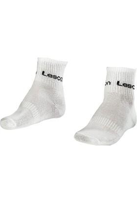 Lescon La-2181 Beyaz Erkek Tenis Çorap Kısa 40-45 2'Li