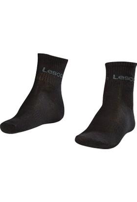 Lescon La-2181 Siyah Erkek Tenis Çorap Kısa 36-40 2'Li