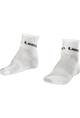 Lescon La-2166 Beyaz 2'li Spor Çetik Çorap 36-40