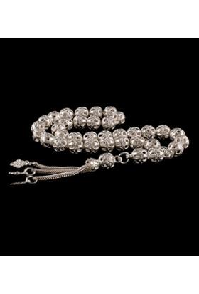 Akyüz Gümüş Yuvarlak Model İşlemeli Telkari Gümüş Tesbih