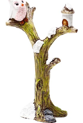 Bigpratic Teraryum Malzemesi Ağaçta Baykuş