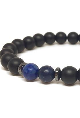 Bi'Bileklik Lapis Lazuli ve Mat Oniks Taşlı Bileklik