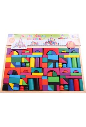 Akademiloji 112 Parça Ahşap Renkli Bloklar