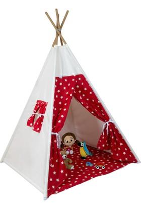 Bliss Kızılderili Oyun Çadırı Oyun Evi Kırmızı Yıldızlı