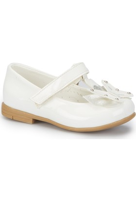 Pink Step Butterfly-1 Beyaz Kız Çocuk Babet