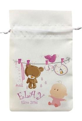Famous İsim Baskılı Baby Shower Bebek Şekeri Mevlüdü Keseleri