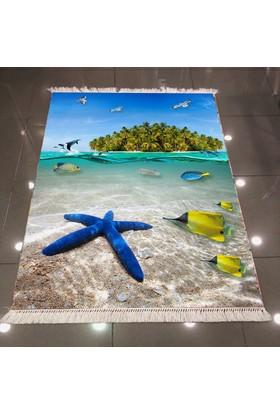 Else Deniz Yıldızı Dekoratif Modern 3D Dokuma Şönil Halı