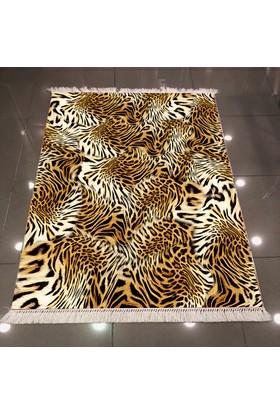 Else Leopar Desen Dekoratif Modern 3D Dokuma Şönil Halı