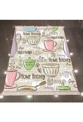 Else Çay Tema Mutfak Dekoratif Modern 3D Dokuma Şönil Halı