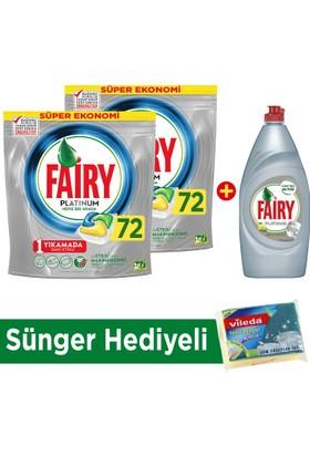 Fairy Platinum Bulaşık Makinesi Deterjanı Kapsülü Limon Kokulu 72 Yıkama 2'li Paket + Platinum Sıvı Bulaşık Deterjanı Limon 870 ml (Sünger Hediye!)