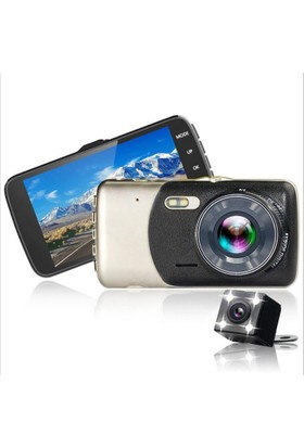 Novatek Dokunmatik 4 inç IPS Ekran Novatek T90 Flash LED Işıklı 1080P 170 Derece Geniş Açı Gece Görüşlü Araç Kamerası