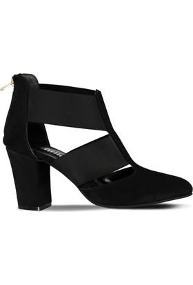 Marjin Neson Topuklu Ayakkabı Siyah Süet