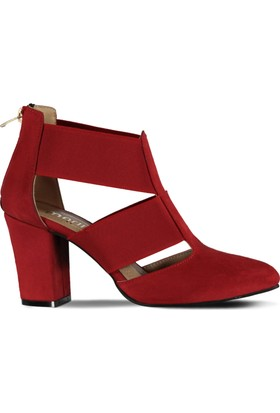 Marjin Neson Topuklu Ayakkabı Kırmızı Süet