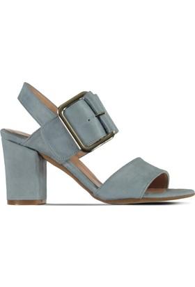 Marjin Semin Topuklu Ayakkabı Mavi Süet