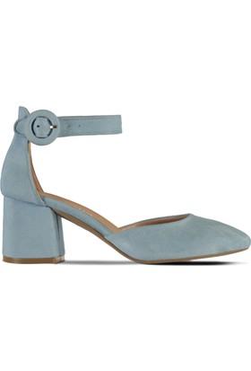 Marjin Yelin Topuklu Ayakkabı Buz Mavi Süet