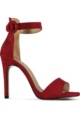 Marjin Mica Topuklu Ayakkabı Kırmızı Süet