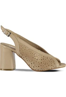 Marjin Boti Topuklu Ayakkabı Bej Süet