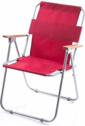 Tekzen Ahşap Kollu Katlanabilir Kamp-Bahçe-Plaj Sandalyesi Kırmızı