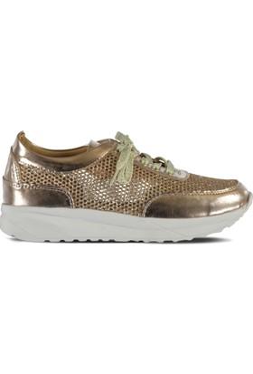 Marjin Medi Düz Spor Ayakkabı Pudra Altın