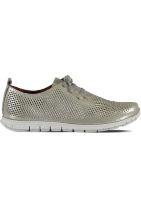Marjin İsali Düz Deri Spor Ayakkabı Gümüş Sim