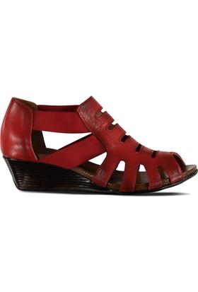 Marjin İlon Deri Dolgu Sandalet Kırmızı