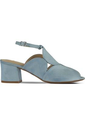 Marjin Zalik Topuklu Sandalet Buz Mavi Süet