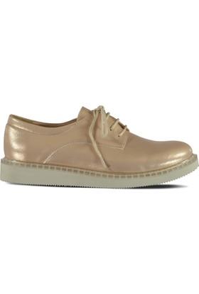 Marjin Namil Düz Ayakkabı Pudra Altın