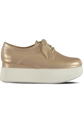 Marjin Tion Düz Ayakkabı Pudra Altın