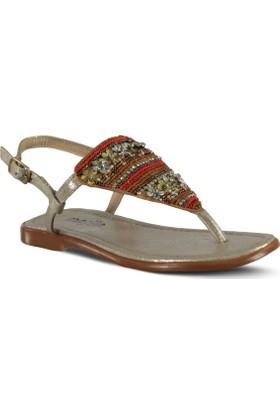 Marjin İcil Düz Sandalet Altın