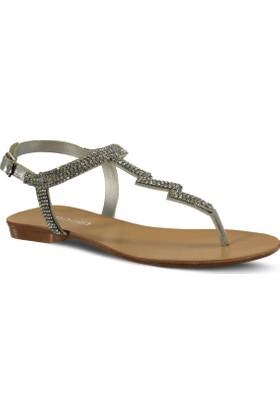 Marjin Atin Düz Sandalet Gümüş