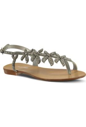 Marjin Tesli Düz Sandalet Gümüş
